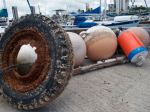 Abandoned buoys and an old tire collected from the garbage patch during a voyage earlier this summer.
