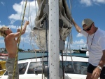 Jeff and Bill untying the main sail