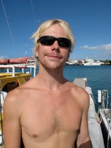 First Mate Jeffrey Ernst, University of Hawaii (Hilo) Marine Science grad, Jeff spends his time manning the deck and sleeping in a hammock on the stern